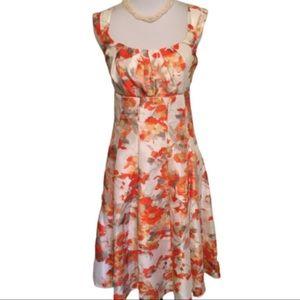 Madison Leigh Orange Floral Fit & Flare Dress 8